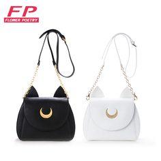 Kawaii 2016 Fashion Women Messenger Bags Lady Sailor Moon Bag Black Women Cat Handbag Luna Moon Women Crossbody Shoulder Bags