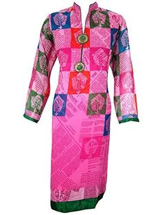 Women's Tunic Dress Pink Printed Georgette Kurti Ethnic Wear Caftans