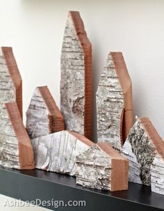 Ashbee Design: Birch Bark Houses • DIY - Made from the bark sides from a birch live-edge plank used to make the desk.