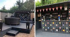Hvem skulle vel ikke hatt en slik bar i hagen? Diy Garden Bar, Outdoor Pallet Bar, Backyard Bar, Ponds Backyard, Paint Bar, Man Cave Home Bar, Diy Bar, Wooden Pallets, Wood Bars