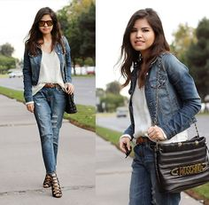 Forever 21 Boyfriend Jeans, Windsor Lace Up Heeled Sandals, Vintage Bag With Moschino Belt