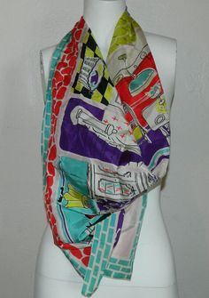 Unique Vtg 50's Novelty Print Scarf by ReminisceVintage on Etsy