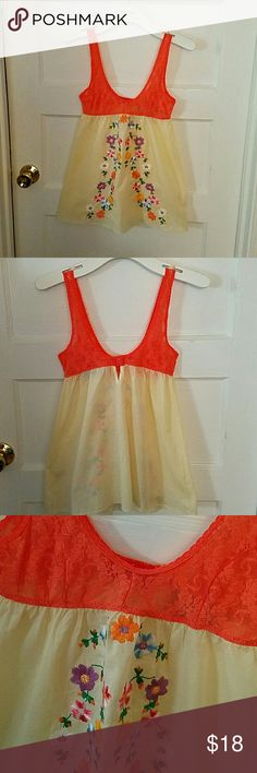 *WEEKEND SALE* Free People pretty pj top Xs Free People pj top with coral color lace and cream colored flowy design. Beautiful flower embroidery detail! Bra closure in the back. Perfect condition! Free People Intimates & Sleepwear Pajamas
