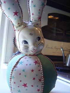 Vintage 1940s, 1950s vinyl stuffed toy rabbit