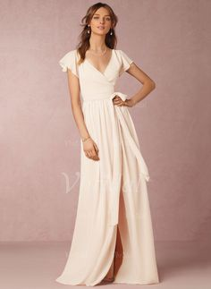 Bridesmaid Dresses - $139.78 - A-Line/Princess V-neck Floor-Length Chiffon Bridesmaid Dress With Split Front Cascading Ruffles (0075095154)