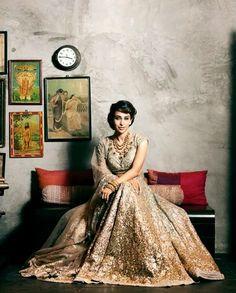 Bridal Inspiration: Soft Gold Lehengas by Sabyasachi on Karisma Kapoor