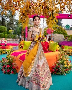 Shining like a princess in this yellow lehenga! Bride - MUA- OutfYou can find Indian wedding and mo. Mehendi Outfits, Indian Bridal Outfits, Indian Designer Outfits, Wedding Outfits, Sangeet Outfit, Indian Designers, Wedding Attire, Wedding Bride, Bridal Dresses