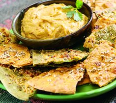 Flatout Baked Dippers -Cut into 16 wedges, spray with Olive oil, sprinkle 1 tsp Mrs Dash, 1 tsp shredded cheese 350 over for 9 minutes.
