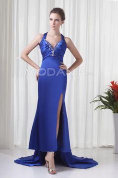 Asymétrique robe de soirée satin élastique bretelle fine perle ruche [#M1409096974] - modanie