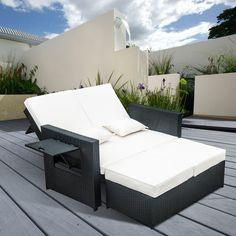 Outsunny Garden Rattan Furniture Outdoor 2 Seater Sofa Sun Lounger