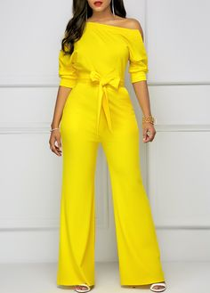 Women's Half Sleeve Skew Neck Belted Yellow Jumpsuit in Clothing, Shoes & Accessories, Women's Clothing, Jumpsuits & Rompers Yellow Jumpsuit, Jumpsuit Outfit, White Romper, Lace Jumpsuit, Tailored Jumpsuit, Printed Jumpsuit, Classy Outfits, Chic Outfits, Overall