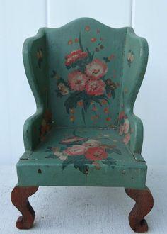 Vintage Authentic TynieToy Tynie Toy Tiny Miniature Painted Highback Wood Chair #TynieToy