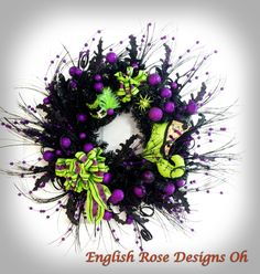 Halloween Wreath * Black and Purple Wreath * Halloween Decor * Witch Boot…