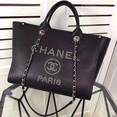 a74693100e Chanel Studded Calfskin Deauville Small Shopping Bag Black 2018   Chanelhandbags Chanel Canvas Bag
