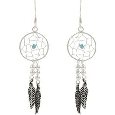 Tressa Sterling Silver Created  'Dream Catcher' Earrings (1.915 RUB) ❤ liked on Polyvore featuring jewelry, earrings, pocahontas, accessories, tressa, earring jewelry, sterling silver jewelry, earrings jewellery and sterling silver earrings