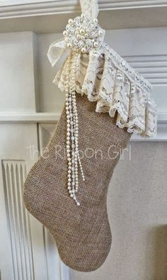 Burlap Christmas Stocking  (can make this with Grandma's lace for a keepsake.)