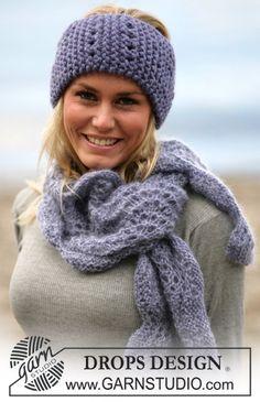 DROPS Head band and scarf in Eskimo ~ DROPS Design
