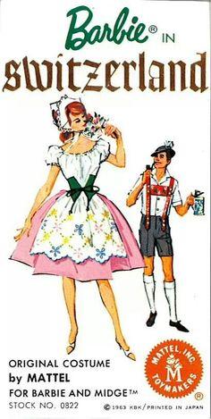 Barbie & Ken in Switzerland, # 0822 and # 0776 Travel Costume Series, (1963)