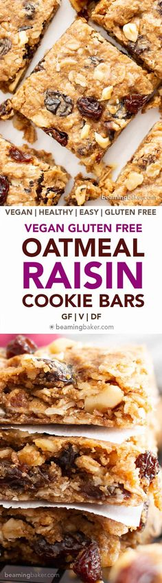 Oatmeal Raisin Cookie Bars (Vegan, Gluten Free) - Beaming Baker - The BEST Vegan Oatmeal Raisin Bars Recipe: chewy centers, crispy edges, packed with raisins & oats! The ultimate gluten free oatmeal cookie bars—healthy, homemade & easy! Oatmeal Raisin Bars, Oatmeal Cookie Bars, Oatmeal Raisins, Vegan Treats, Vegan Foods, Vegan Snacks, Healthy Snacks, Vegan Oatmeal, Gluten Free Oatmeal