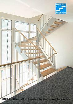 Wangentreppe ATHEN Stufen Buche Massiv  Stufenmaterial Buche, Geländertyp 100 mit Holzhandlauf Buche MÖ Massivholz