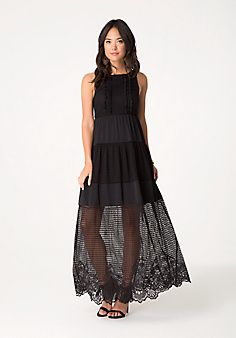 Bebe Lace & Voile Maxi Dress $149