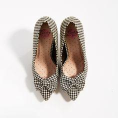 Elsa Black Gingham Bow Court Shoes   Vintage Shoes - Lindy Bop