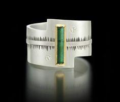 Sam Woehrmann: green tourmaline, diamonds, 22k, sterling silver