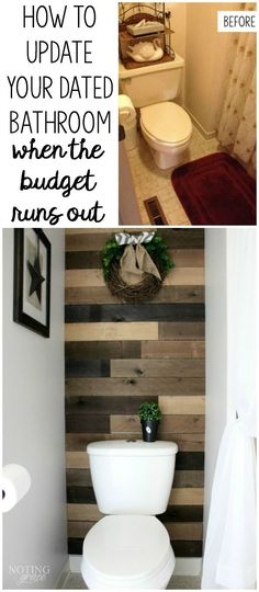 Living with a dated bathroom but don't have a budget to remodel? This blogger transforms her 80s bathroom using pallet wood and paint.