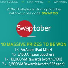 Im trying to win an iPad and £150 Amazon vouchers in the #Vapemate #Swaptober giveaway!
