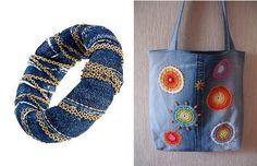 Jeans recicladosCon los jeans reciclados se pueden hacer muchísimos trabajos de bisutería, decoración o bricolage. Por ejemplo, podemos hacer estas hermosas florcitas cosidas, las que se pueden transformar en accesorios o adornos para el hogar.