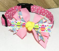 Pink and White Polka Dot Easter Collar With Bow for Dogs and Cats /Metal Buckle Upgrade/ Leash Upgrade by UppityPuppitys on Etsy Bow Display, Cat Accessories, Girl And Dog, All Flowers, Cat Collars, Metal Buckles, Ribbon Bows, Dog Toys, Your Dog