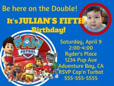 Paw Patrol Boy or Girl themed Invitation in Digital PDF & JPEG format, paw patrol party, paw patrol Boy Birthday, Birthday Parties, Paw Patrol Birthday Invitations, Paw Patrol Party, Boy Baptism, Digital Invitations, Personal Photo, Favor Tags, Boy Or Girl