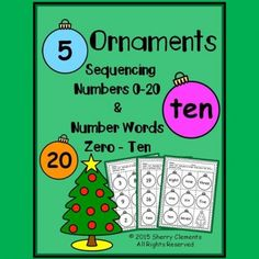 Ornaments - Numbers (0-20) and Number Words (zero-ten) Sequencing - (Christmas)