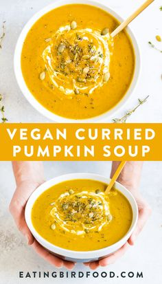 Comforting and filling vegan curried pumpkin soup made with coconut milk and cannellini beans. The beans give this pumpkin soup a nice, thick texture and add a little protein! You can make the soup in your slow cooker or on the stovetop!#vegan #pumpkin #curry #soup #eatingbirdfood Slow Cooker Pumpkin Soup, Pumpkin Curry Soup, Vegan Pumpkin Soup, Pumpkin Vegetable, Healthy Pumpkin, Pumpkin Recipes, Pumpkin Pumpkin, Pumpkin Dessert, Salads
