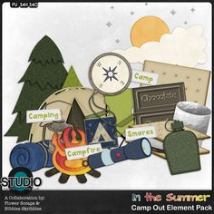 In the Summer: Camp Out Digital Scrapbooking Element Pack by Nibbles Skribbles & Flower Scraps $2