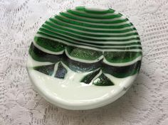 Fused Glass Pattern Bar Bowl Green White Strip Cut Art Glass