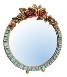Barbola mirror with flowers in rose, blue, yellow and peach .