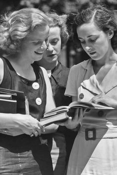 """Three female students reading a book circa Photo by Keystone View/FPG/Getty Images. """"To feel most beautifully alive means to be reading something beautiful, ready always to apprehend in the flow of language the sudden flash of poetry. People Reading, Woman Reading, Vintage Photographs, Vintage Photos, Elena Ferrante, Right To Education, Celebrities Then And Now, Student Reading, Inspirational Books"""
