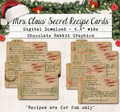 Mrs. Claus' Secret Recipe Cards Christmas Digital Download