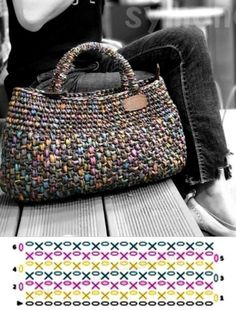 Crochet Stitches Free, Crochet Tote, Crochet Handbags, Crochet Purses, Filet Crochet, Crochet Patterns, Knitted Bags, Handmade Bags, Baby Knitting