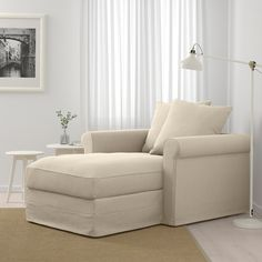 GRÖNLID Chaise longue, Sporda natural, Height including back cushions: 104 cm - IKEA Ikea Living Room, Living Room Furniture, Ikea Bank, Ikea Family, Deep Seat Cushions, Large Sofa, Ikea Furniture, Furniture Stores, Furniture Movers