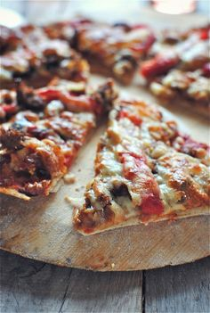 Thin Crust Pizza with Caramelized Onions, Sausage and Roasted Red Peppers | Bev Cooks