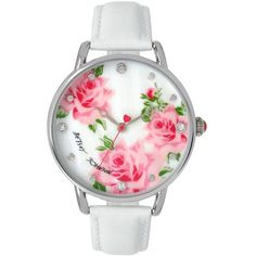 Betsey Johnson Floral Leather Strap Watch ($95) ❤ liked on Polyvore featuring jewelry, watches, accessories, bracelets, montre, white, rose watches, rose jewelry, rhinestone jewelry and rhinestone watches