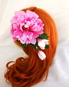 Pink Flower Hair Fascinator Pink Valentine's by RuthNoreDesigns