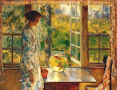 welovepaintings: 1912 Frederick Childe Hassam (American Impressionist, 1859-1935) ~ Bowl of Goldfish