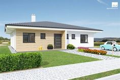 Perfect size of rooms, plenty of storage space and a sheltered terrace ensures that this bungalow is an ideal house for a family of four. Guest House Plans, House Layout Plans, My House Plans, House Layouts, Modern Bungalow Exterior, Bungalow House Design, House Plans Mansion, Beautiful House Plans, Model House Plan