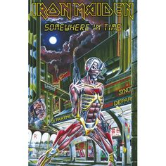 Iron Maiden Poster Flag, Somewhere In Time (Approximate Size Inches x 42 Inches) (Import), Iron Maiden Somewhere In Time Poster Flag, Iron Maiden Posters/Wall Art, Iron Maiden Merchandise Tapestry Fabric, Wall Tapestry, Iron Maiden Posters, Flags For Sale, Somewhere In Time, Poster Making, Hanging Art, Poster Wall, Rock And Roll