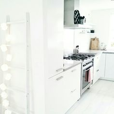 White walls and cabs, gray counter