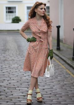 1940s Shirt dress (also love the socks with MJ's!)