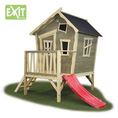 Kinder-Spielhaus EXIT Crooky 300 Kinderspielhaus Holzhaus Stelzenhaus - Sehr liebevoll gestaltetes, vorangestrichenes Spielhaus auf kleinen Stelzen mit kleiner Rutsche